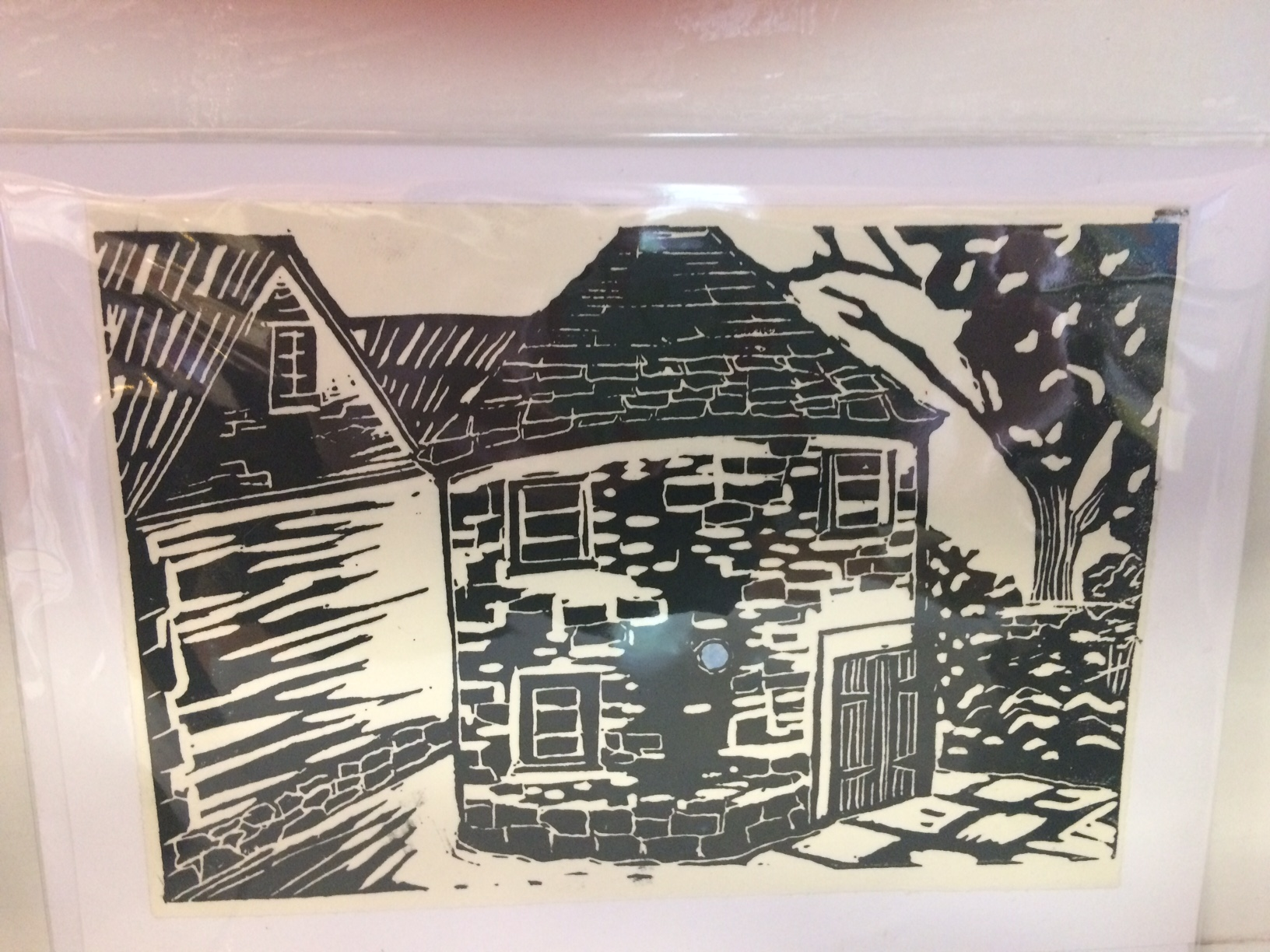 The Round House Lino Print Card