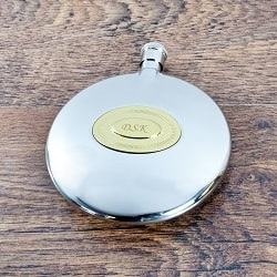 Classic Hip Flask with Personalised Brass Plate