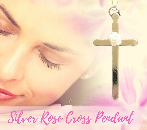 Silver Cross Necklace With Pink Rose
