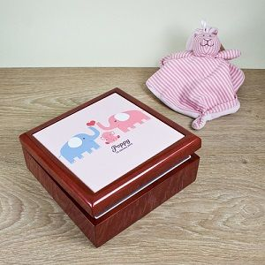 Personalised Elephant Baby Keepsake Box