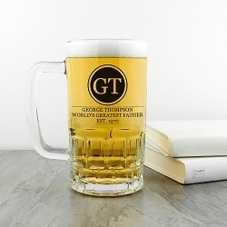 Initials Circled Beer Glass Tankard