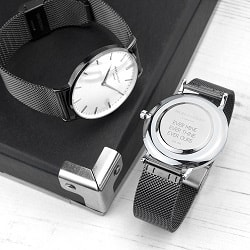 Personalised Mens Metallic Charcoal Grey Watch