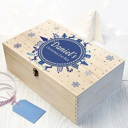 Large Personalised Christmas Eve Box With Snowflake Wreath