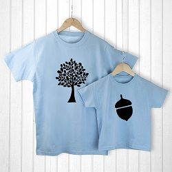 Personalised Daddy And Me Acorn Blue T Shirts