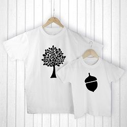 Personalised Daddy And Me Acorn White T Shirts