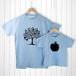 Personalised Daddy and Me Apple Blue T Shirts