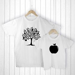 Personalised Daddy and Me Apple White T Shirts
