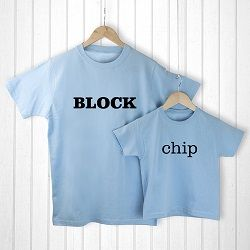 Personalised Daddy and Me Chip off the Old Block Blue T Shirts