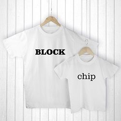 Personalised Daddy and Me Chip off the Old Block White T Shirts