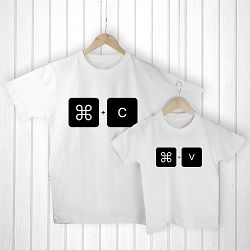 Personalised Daddy and Me Command V White T Shirts
