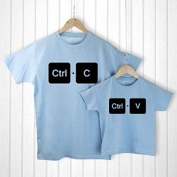 Personalised Daddy and Me Copy Paste Blue T Shirts