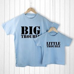 Personalised Daddy and Me Here Comes Trouble Blue T Shirts