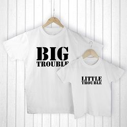 Personalised Daddy and Me Here Comes Trouble White T Shirts
