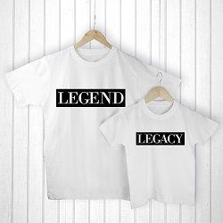Personalised Daddy and Me Legendary White T Shirts
