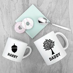 Personalised Daddy And Me Acorn Mugs