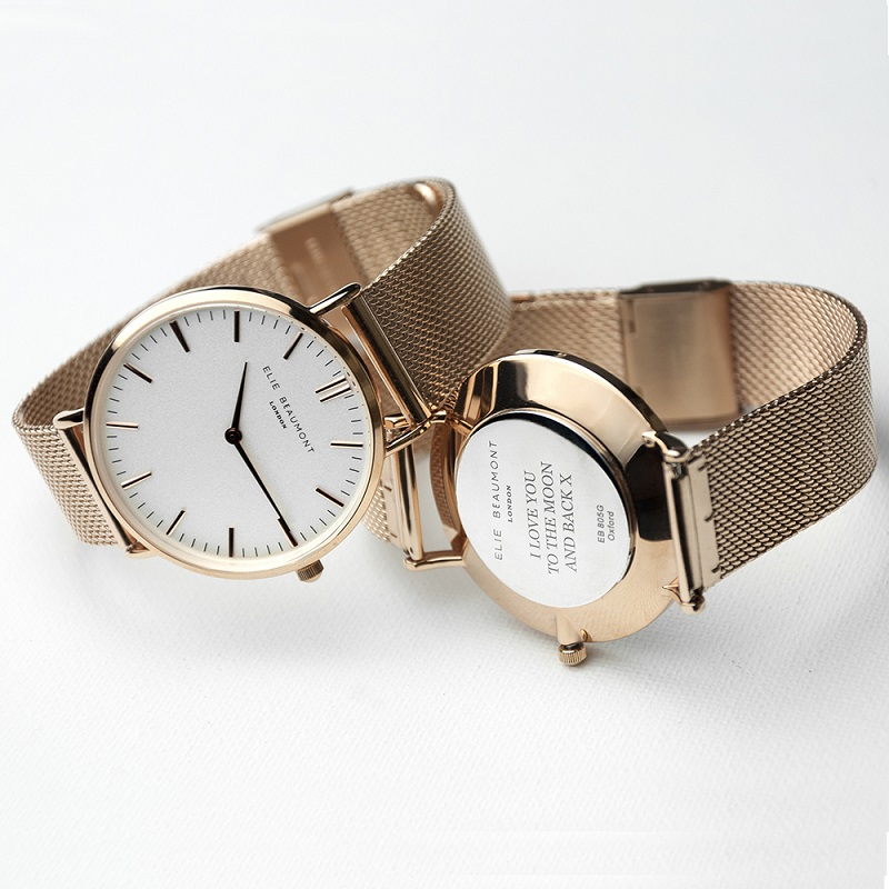 Personalised-Rose-Gold-Mesh-Strapped-Watch-With-White-Dial