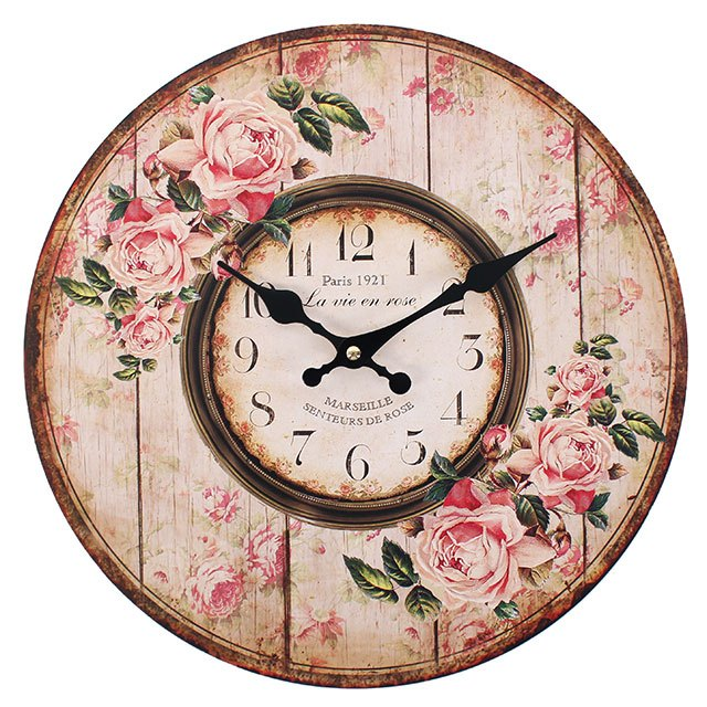 SHABBY CHIC PINK ROSE PARIS 1921 WALL CLOCK