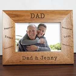 Personalised  Sentiments Dad Engraved Photo Frame