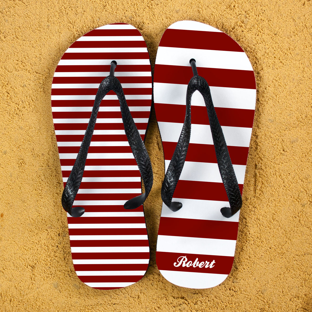 a49d0bd8e77d5 Striped Personalised Flip Flops in Red £15.00 at Present And Gifts