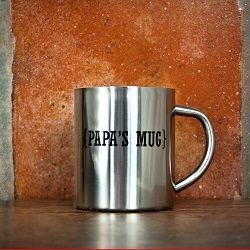 Personalised Name with Swirl Brackets Silver Outdoor Mug