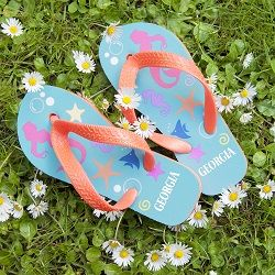 Under The Sea Mermaid Child's Personalised Flip Flops