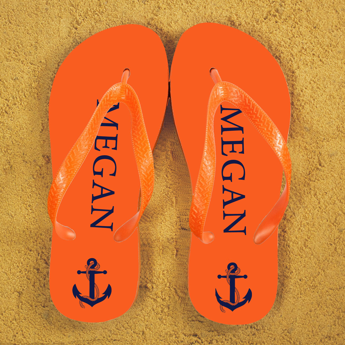 Anchor style Personalised Flip Flops in Orange and Blue
