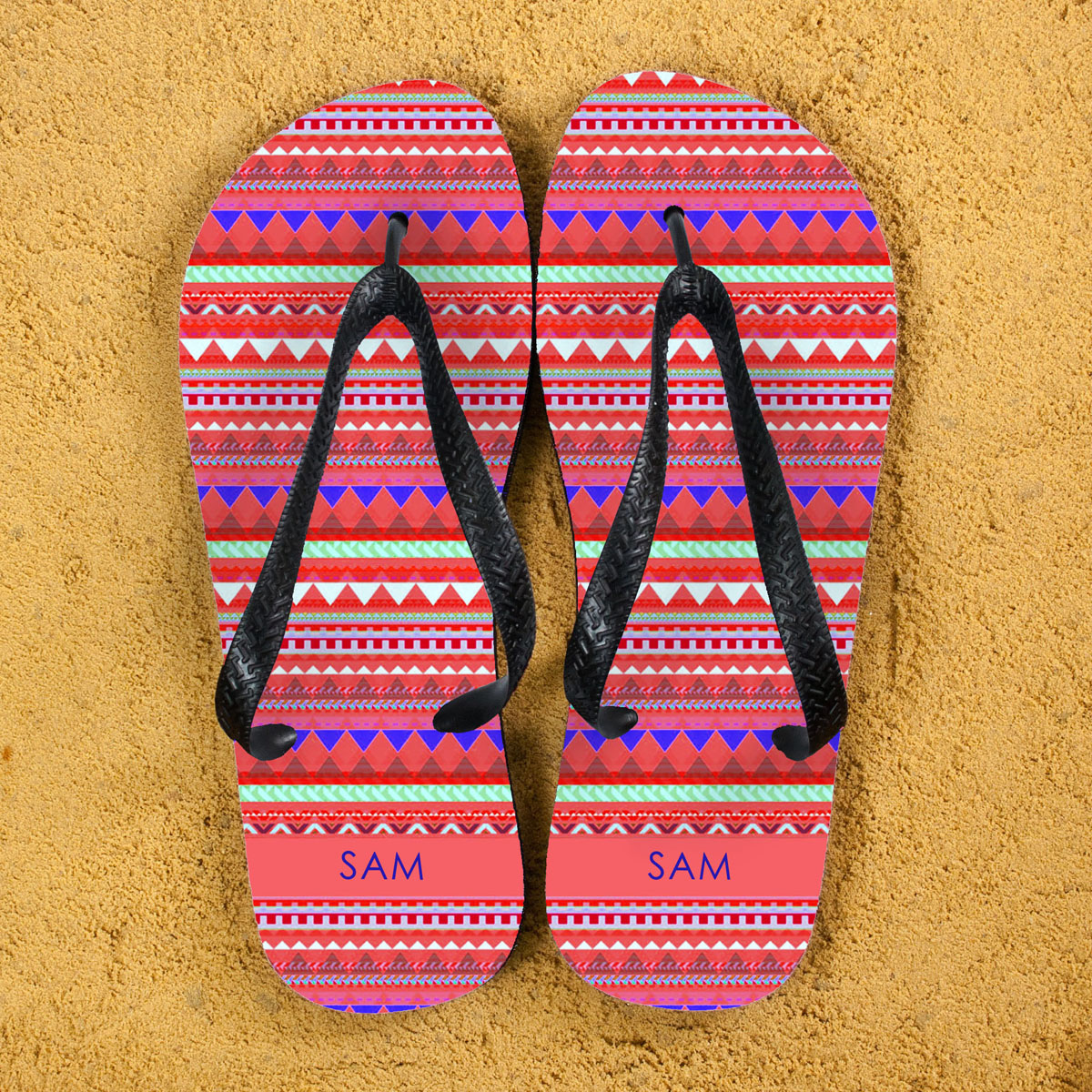 Aztec style Personalised Flip Flops in Red