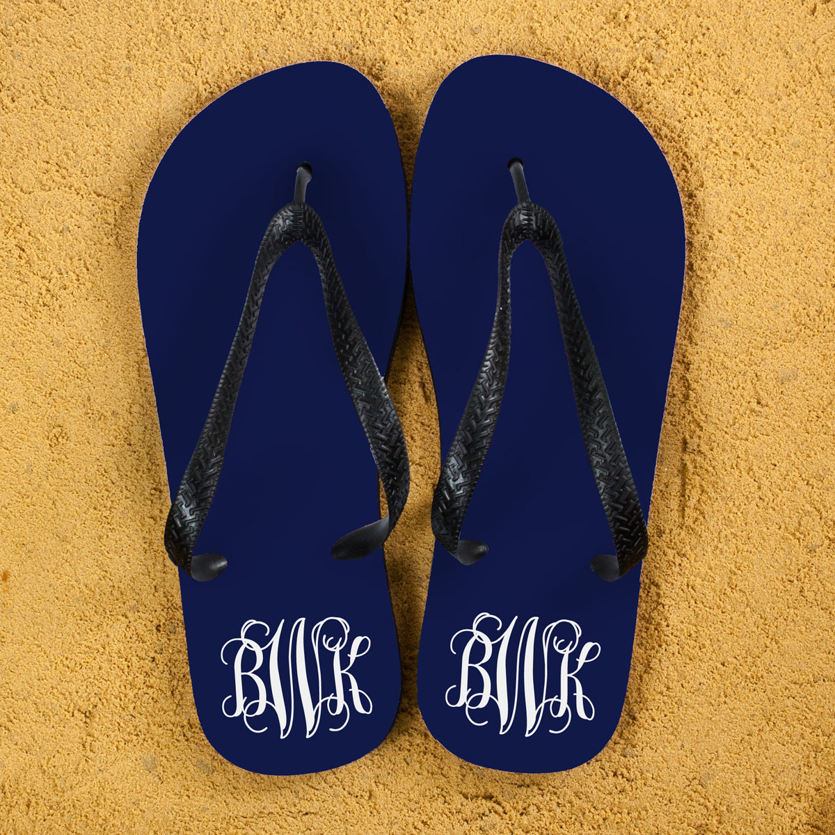 Monogrammed Flip Flops in Blue and White