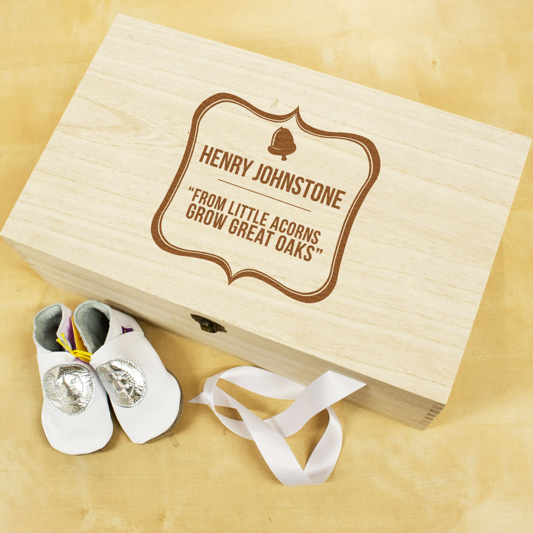 Personalised Baby Acorn Sentiment Box