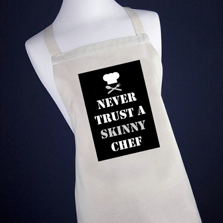 Never Trust A Skinny Chef Apron (non-personalised)