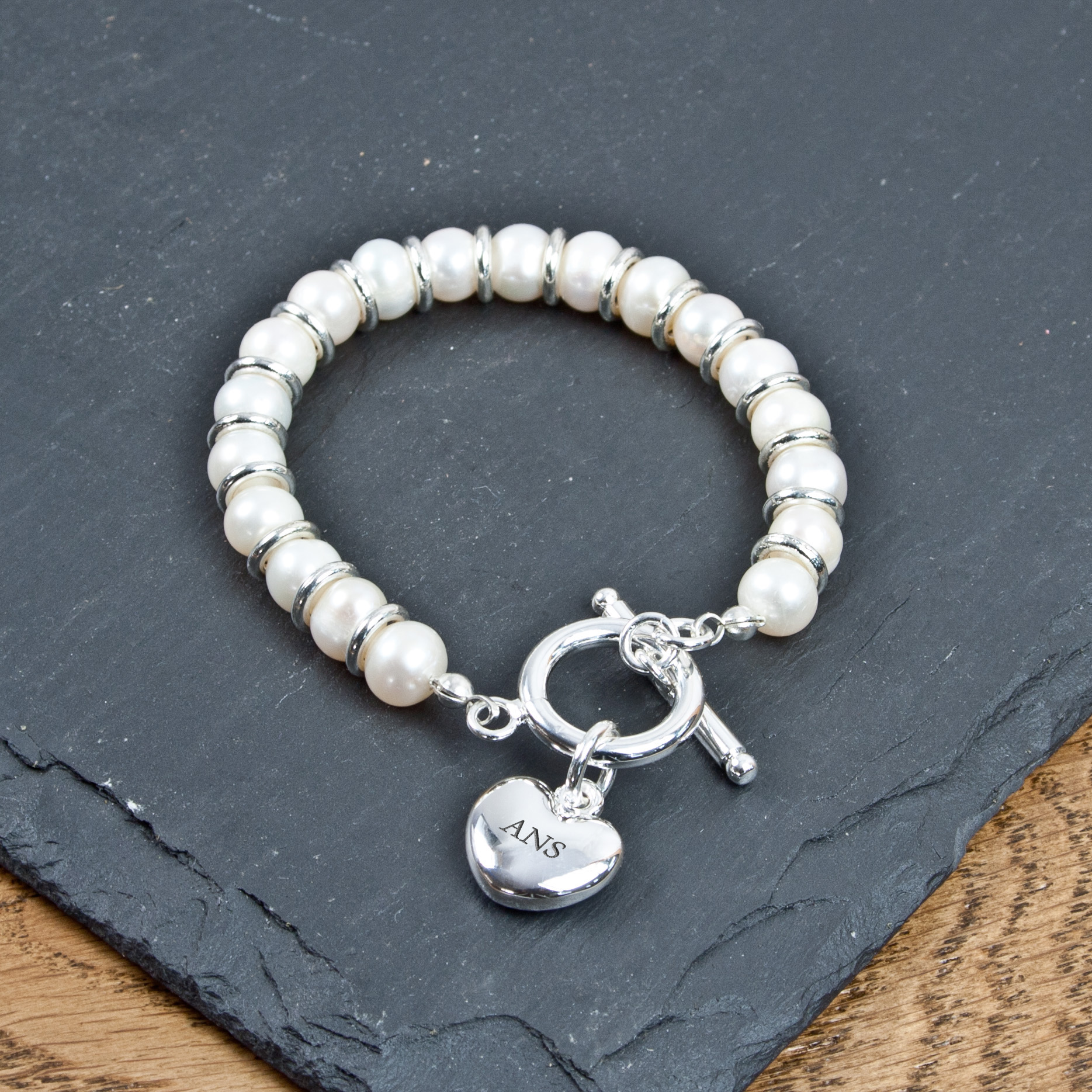 Personalised White Harmony Bracelet