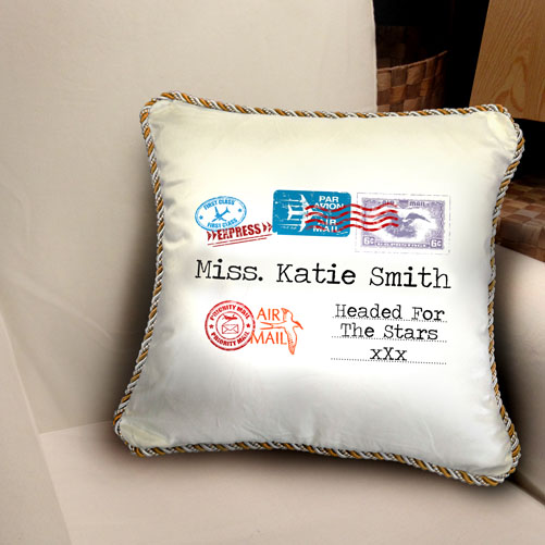Personalised Airmail Cushion - Headed for the Stars