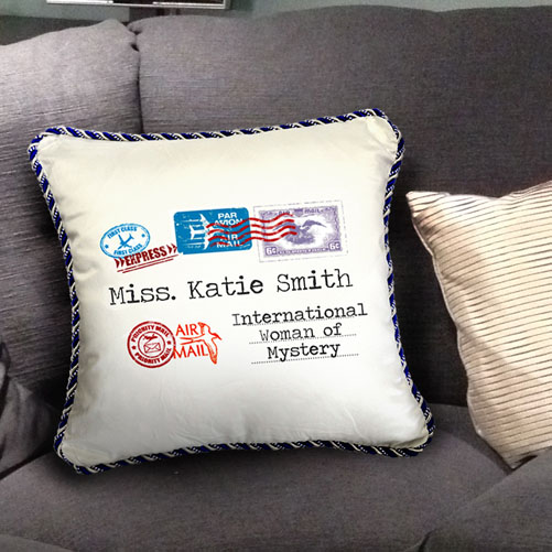 Personalised AirMail Cushion - International Woman of Mystery