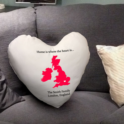 Personalised Home is where the Heart is - Heart Cushion